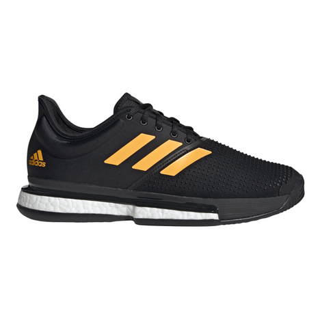 adidas SoleCourt Boost Men's Tennis Shoe (Black/Flash Orange/Carbon) - RacquetGuys