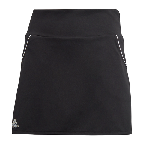 adidas Girl's Club Skirt (Black/Silver/White) - RacquetGuys