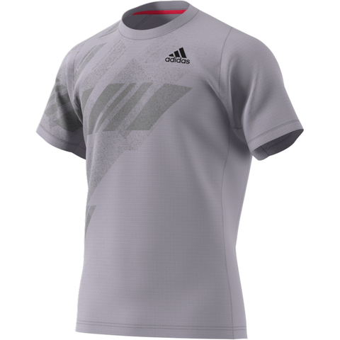 adidas Men's Freelift Print HEAT.RDY Top (Grey/Powder Pink) - RacquetGuys