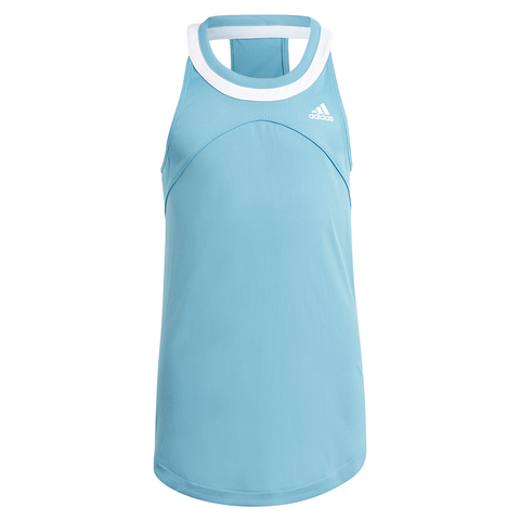adidas Girls G Club Tank Top (Blue/White) - RacquetGuys