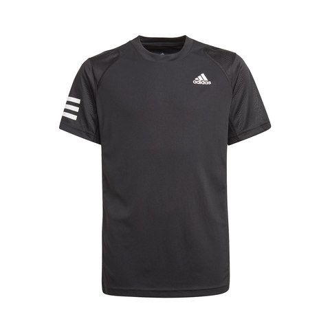 adidas Boys Club 3 Stripes Top (Black/White) - RacquetGuys