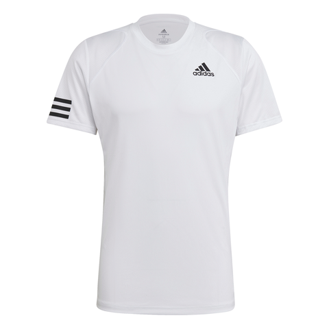 adidas Men's Club 3 Stripes Top (White/Black) - RacquetGuys