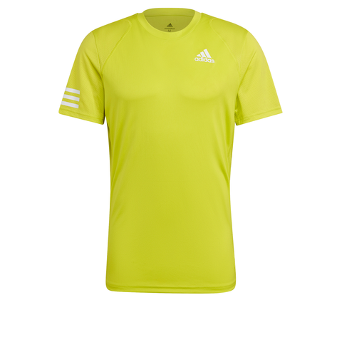 adidas Men's Club 3 Stripes Top (Yellow) - RacquetGuys