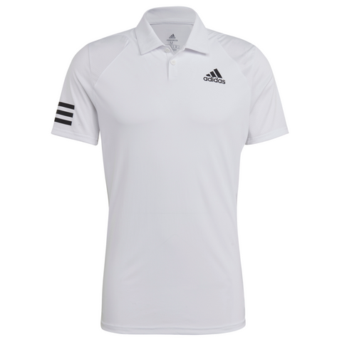 adidas Men's Club 3 Stripes Polo (White/Black) - RacquetGuys