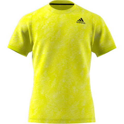 adidas Men's FreeLift Primeblue Printed Top (Yellow) - RacquetGuys