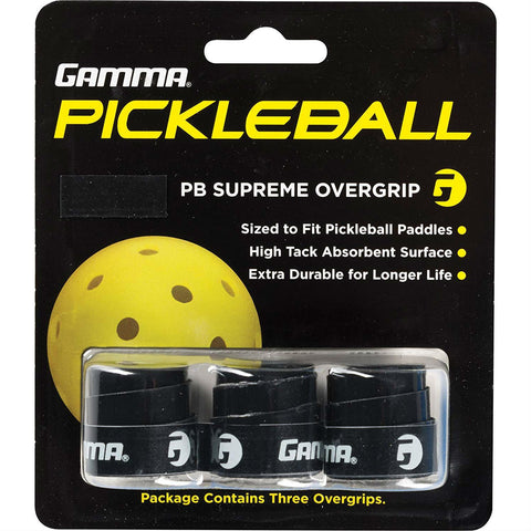 Gamma Pickleball Supreme Overgrips 3 Pack (Black) - RacquetGuys