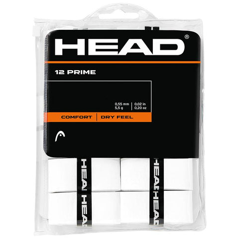HEAD Prime Overgrips 12 Pack (White) - RacquetGuys