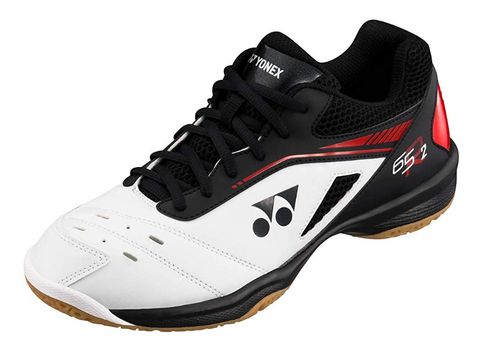 Yonex Power Cushion 65 R2 Men's Indoor Court Shoe (White/Red) - RacquetGuys