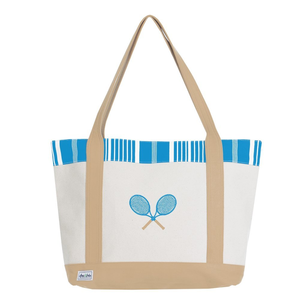 Ame & Lulu Tennis Lovers Ticking Stripe Tote Racquet Bag - RacquetGuys