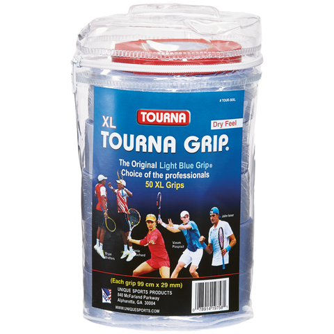 Tourna Grip Original Overgrips XL Tour Travel Pouch 50 Pack