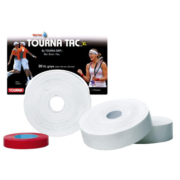 Tourna Tac XL Pro 30 Pack Overgrips (White) - RacquetGuys