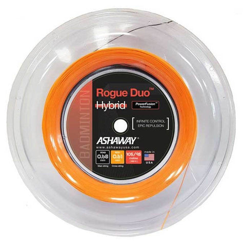 Ashaway Rogue Duo Hybrid Badminton String Reel (Black/Orange) - RacquetGuys