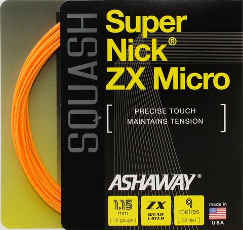 Ashaway SuperNick ZX Micro 18 Squash String (Orange) - RacquetGuys