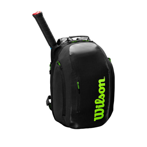 Wilson Super Tour Backpack Racquet Bag (Black/Green) - RacquetGuys