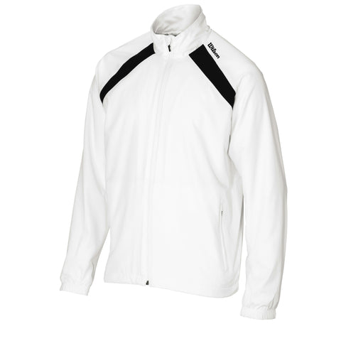 Wilson Mens Woven Warm Up Jacket and Pants (White/Black) - RacquetGuys