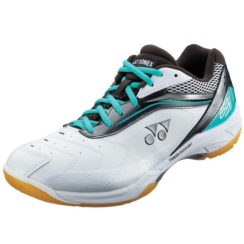 Yonex SHB 65 Wide Mens Indoor Court Shoe (White/Aqua/Black)