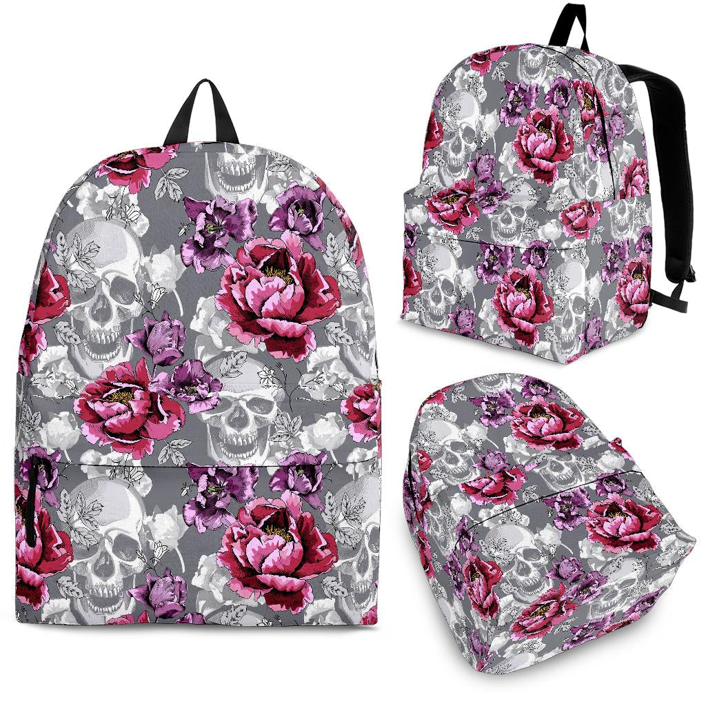 Skull Pink Flower Backpack