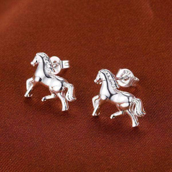 925 Sterling Silver Horse Earrings and Necklace Set