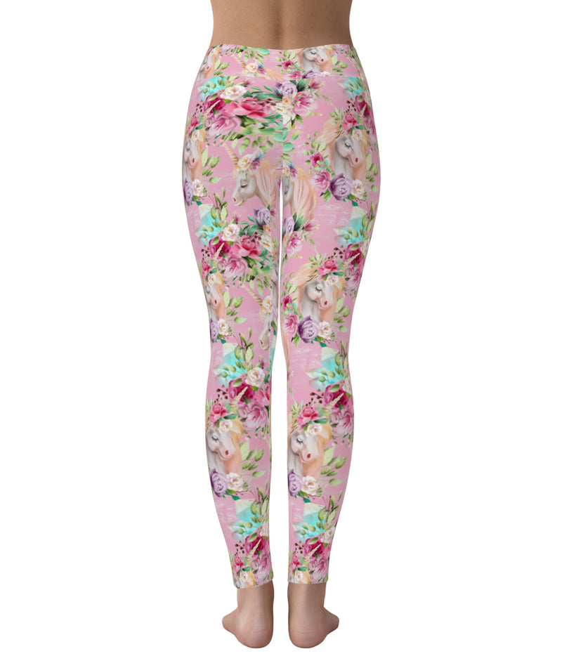Unicorn pastel pink flower leggings