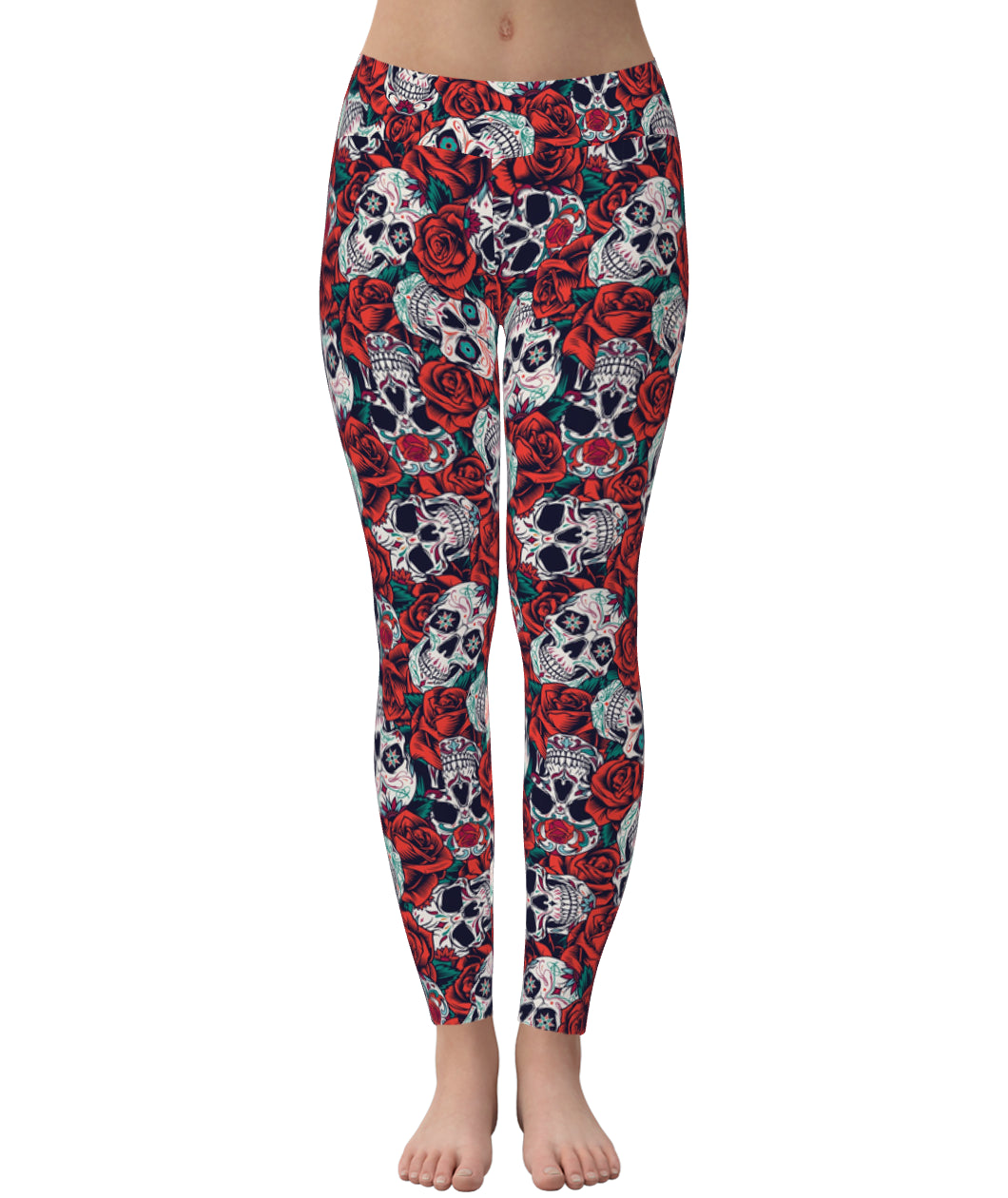 Skull Red Rose Leggings