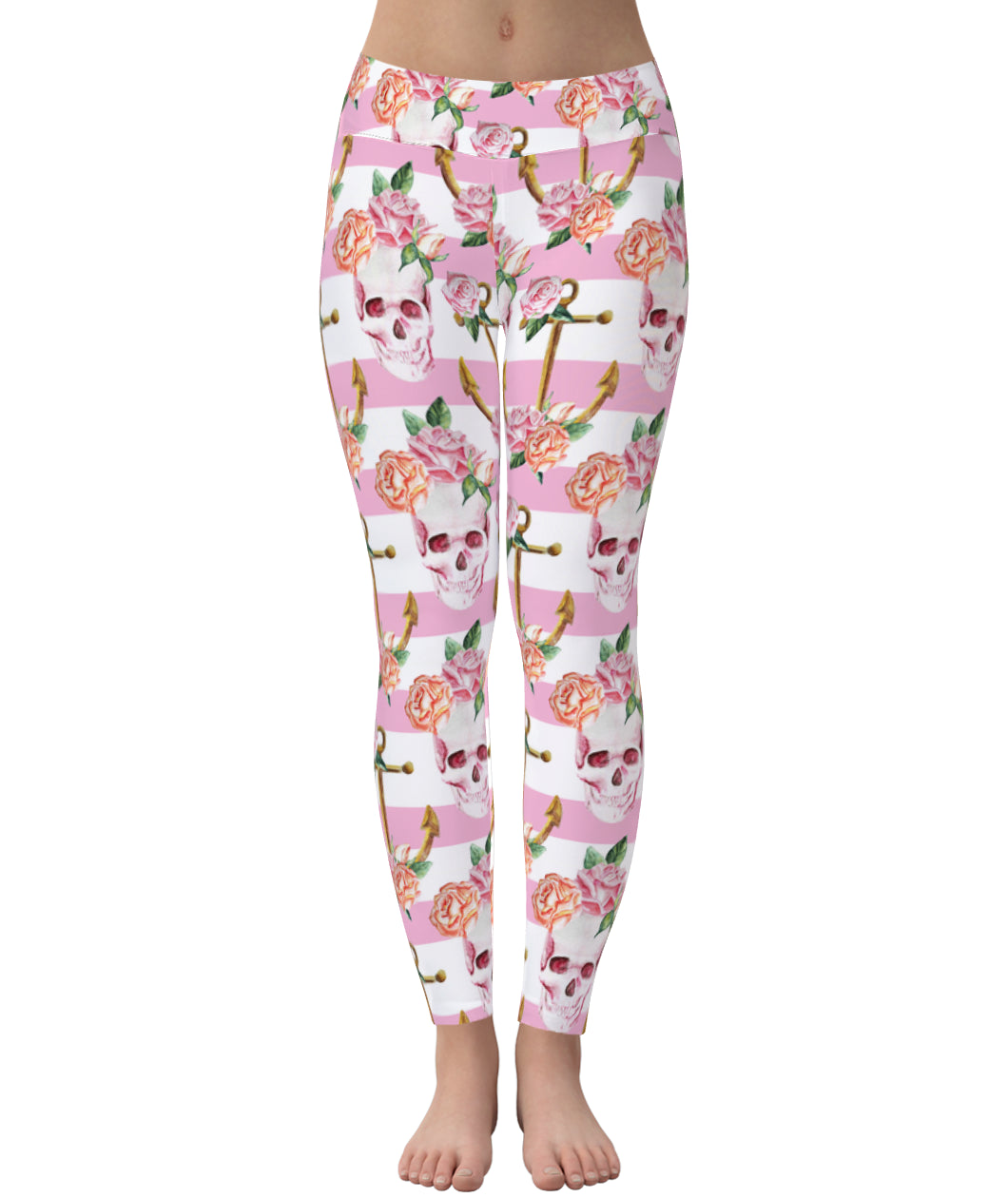 Skull pink flower stripe leggings
