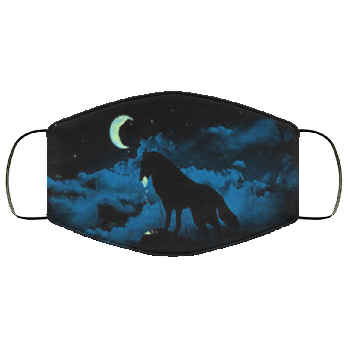 Black Wolf Moon Face Mask