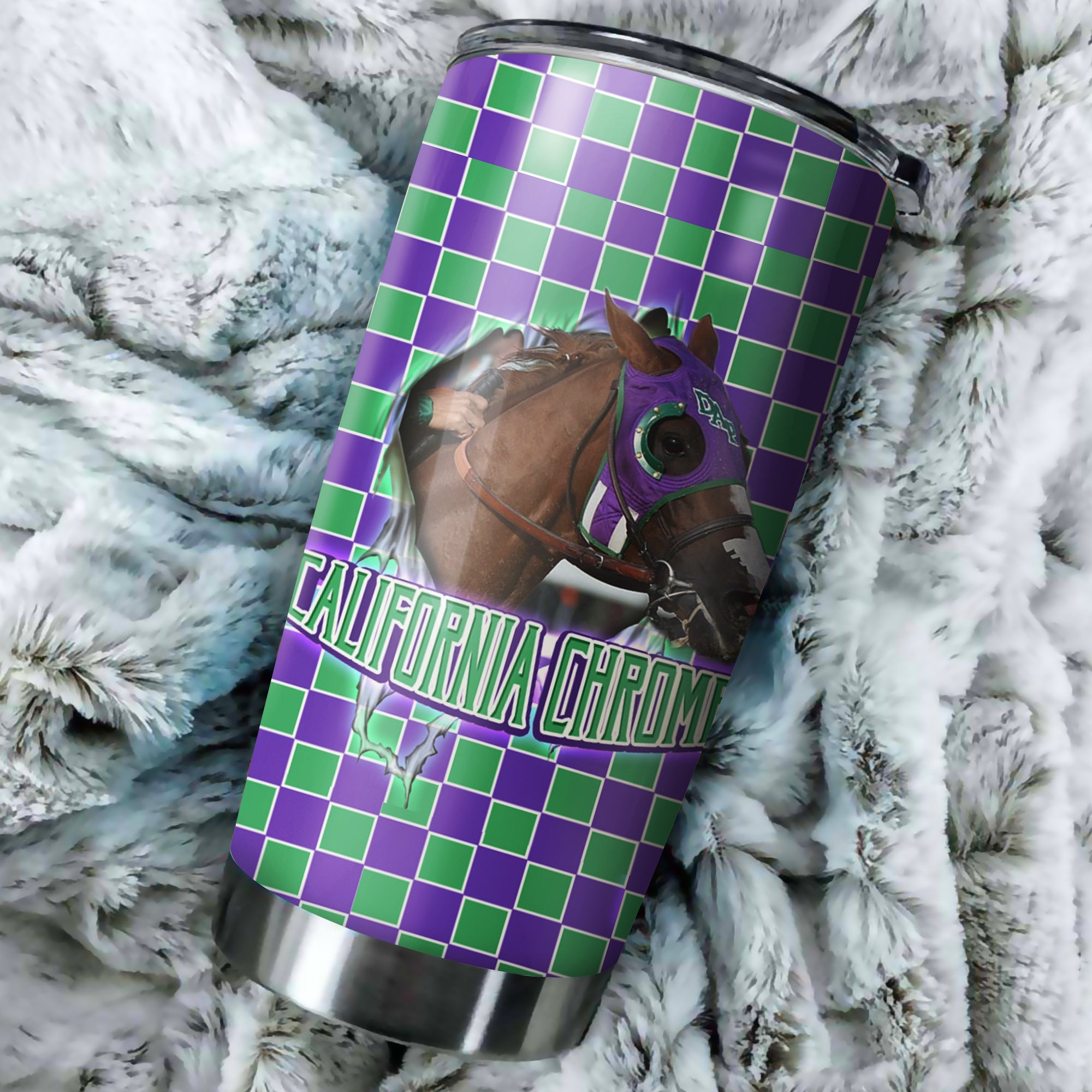 California Chrome Horse Tumbler