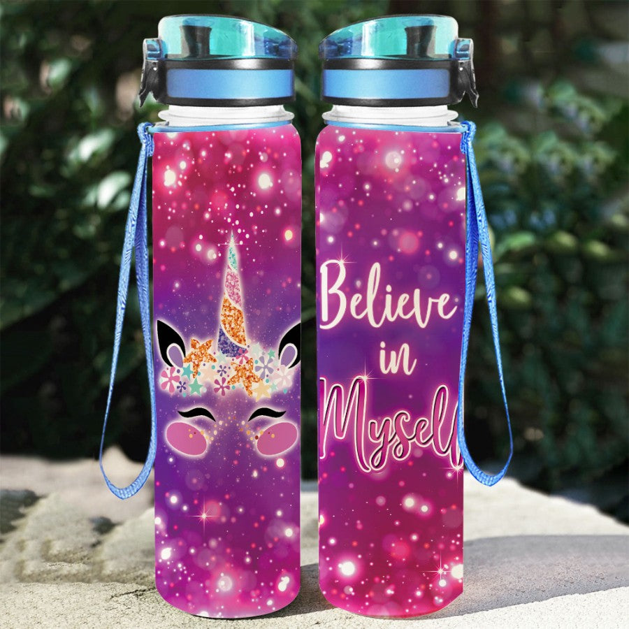 Unicorn Belive in Myself - Water Tracker Bottle