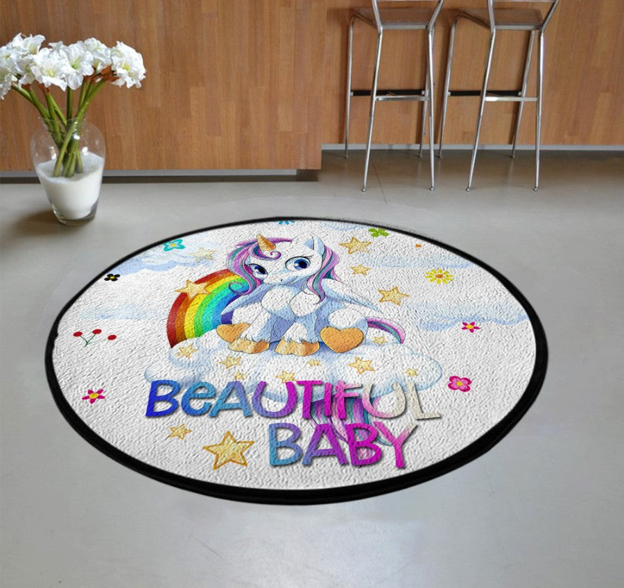 Unicorn Beautiful Baby Round Rug