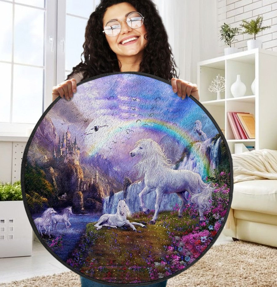 Beautiful Unicorn  Round Rug