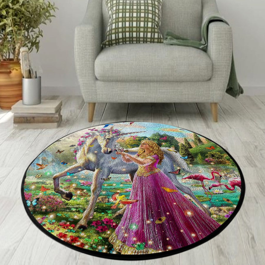 Unicorn Princess Round Rug