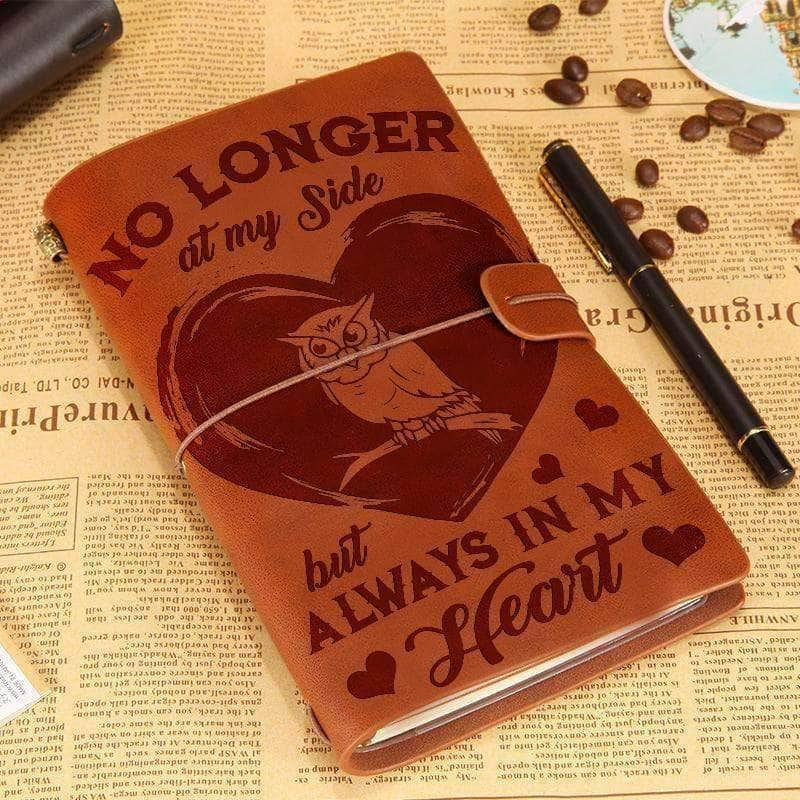 Always in my heart Owl - Leather journal
