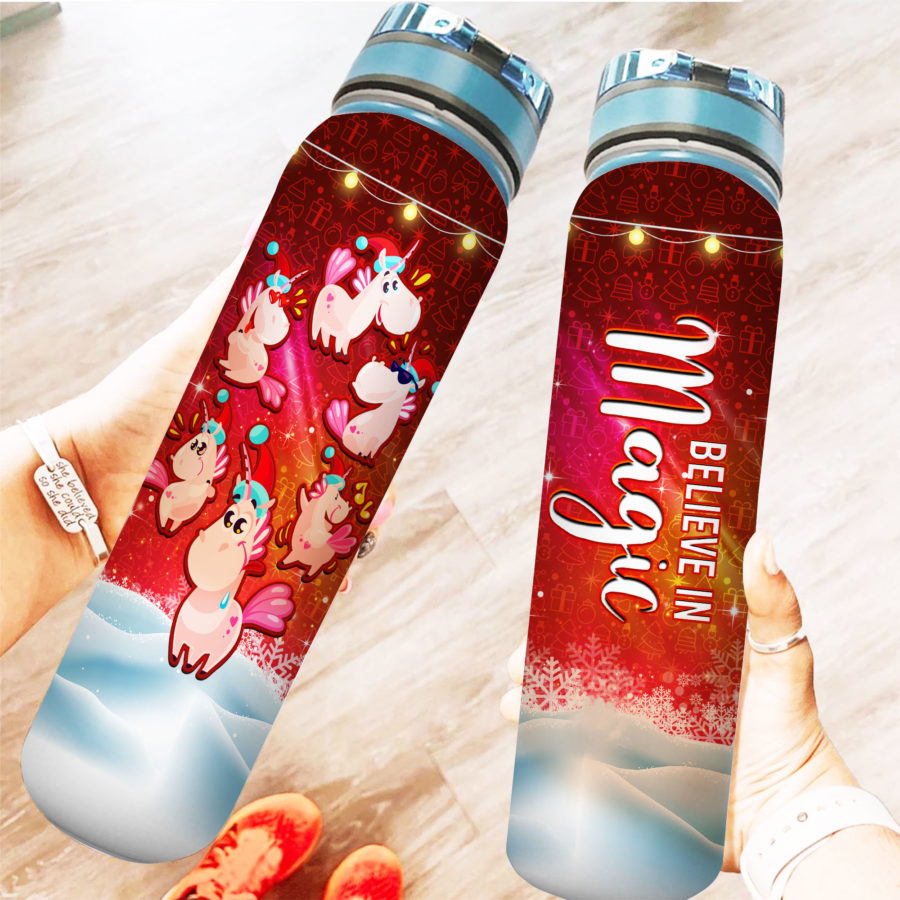 Crazy Unicorn Xmas - Water Tracker Bottle
