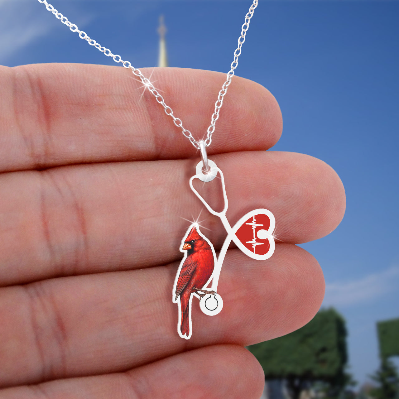 Heart Cardinal Nurse Necklace