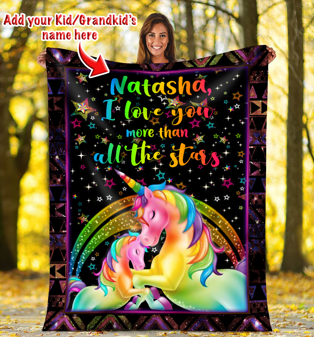 I love you more than all the stars Unicorn Magical Custom Blanket