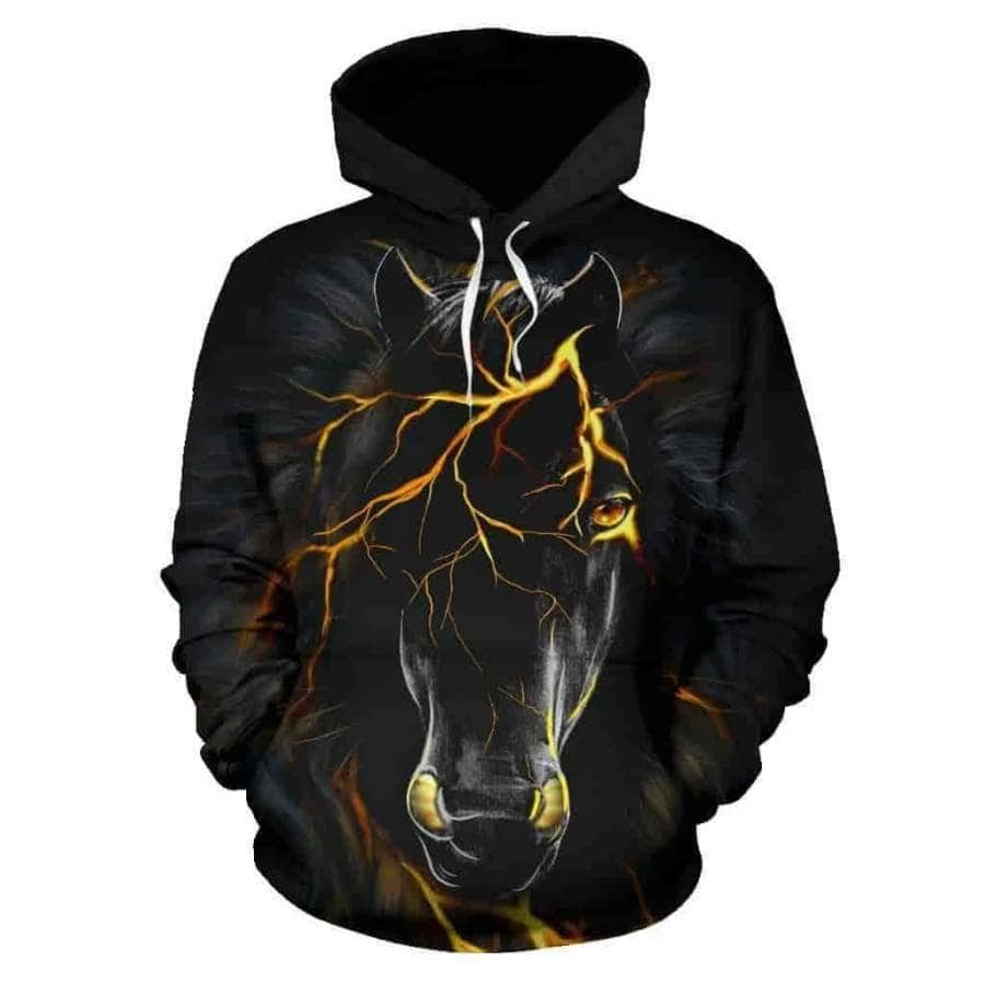 Black Horse All Over Hoodie