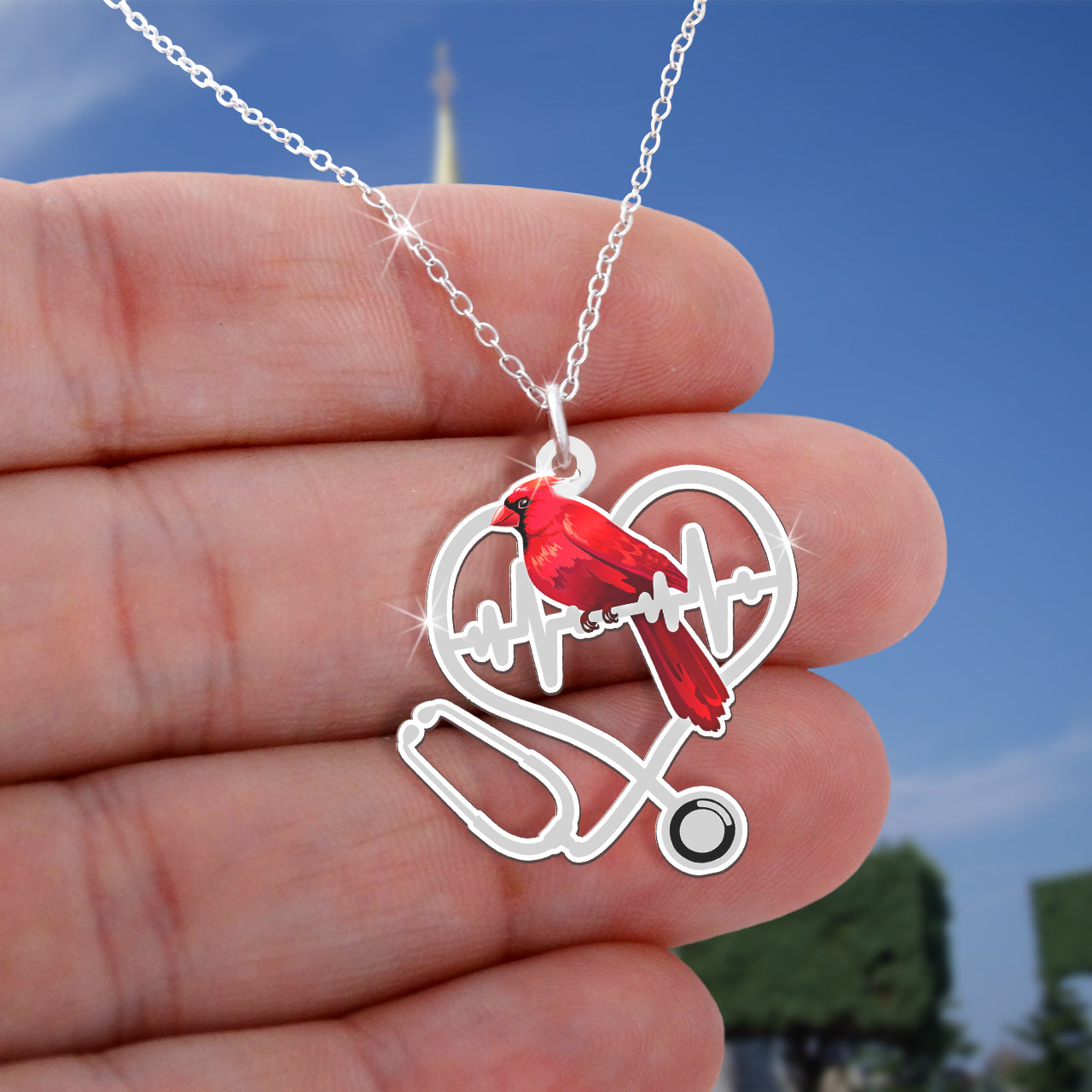 Cardinal Stethoscope Nurse Necklace