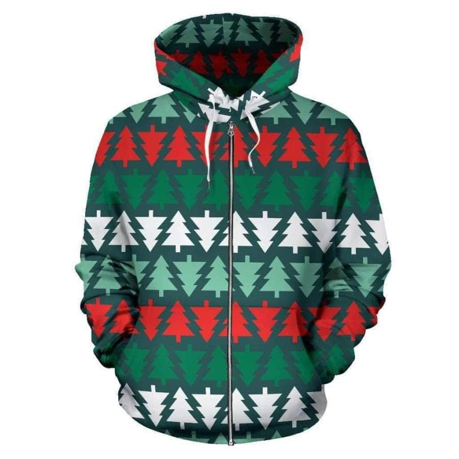 Christmas Tree All Over Zip - Up Hoodie
