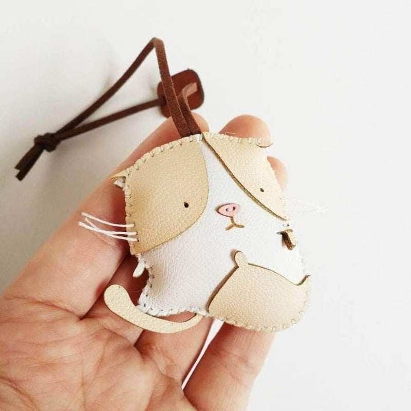 Cream Cat Handmade Leather Charm