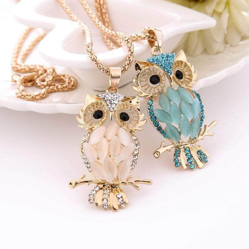 Crystal Owl Necklace Pink/Blue