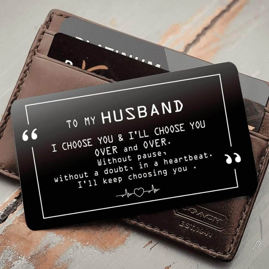 ENGRAVED BLACK WALLET INSERT CARD- MY BOY - I LOVE YOU - X5424