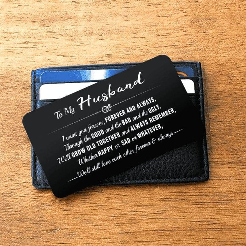 ENGRAVED BLACK WALLET INSERT CARD- MY BOY - I LOVE YOU - X5426