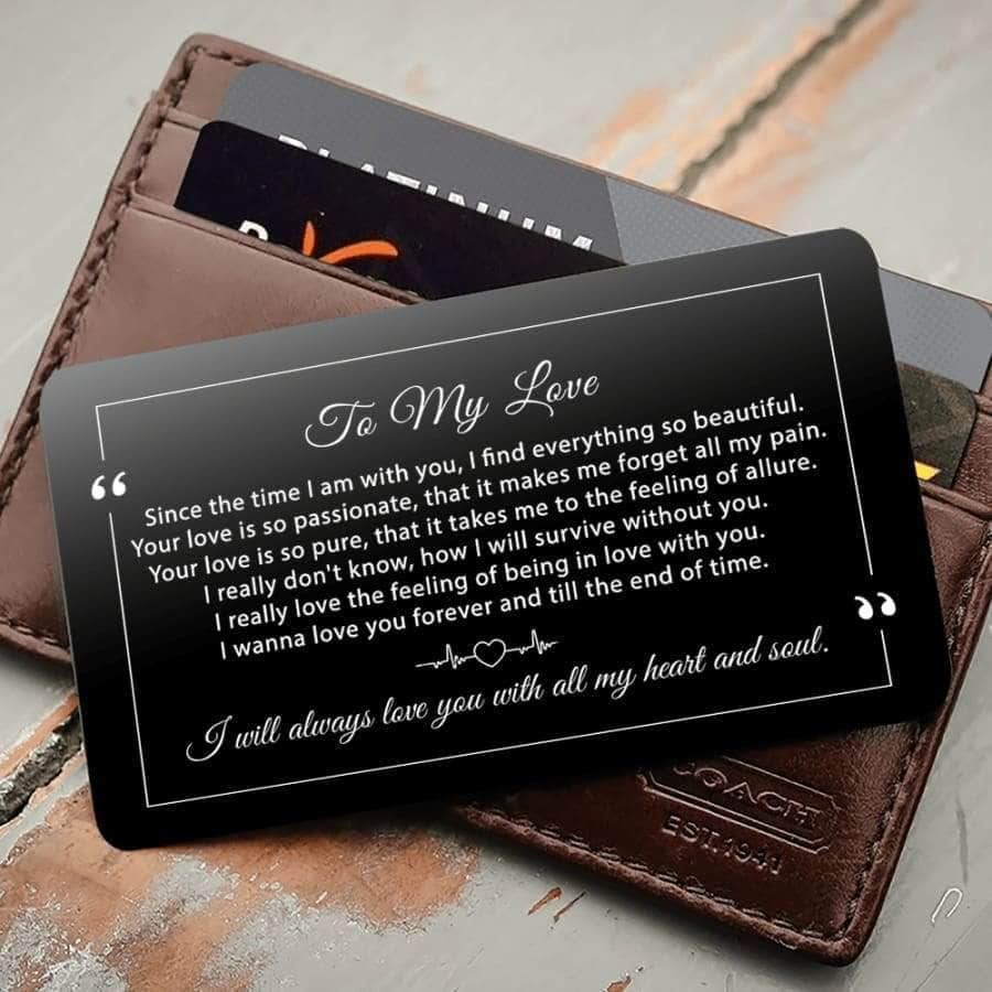 ENGRAVED BLACK WALLET INSERT CARD- MY BOY - I LOVE YOU - X5429