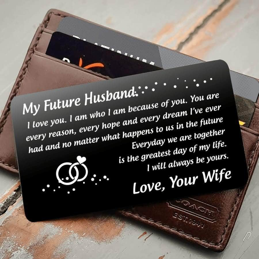 ENGRAVED BLACK WALLET INSERT CARD- MY FUTURE HUSBAND - I LOVE YOU - X5421