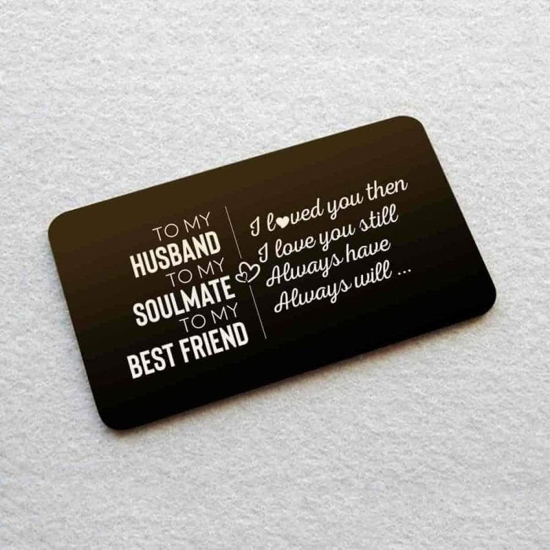 ENGRAVED BLACK WALLET INSERT CARD- MY HUSBAND - I LOVE YOU - X5418