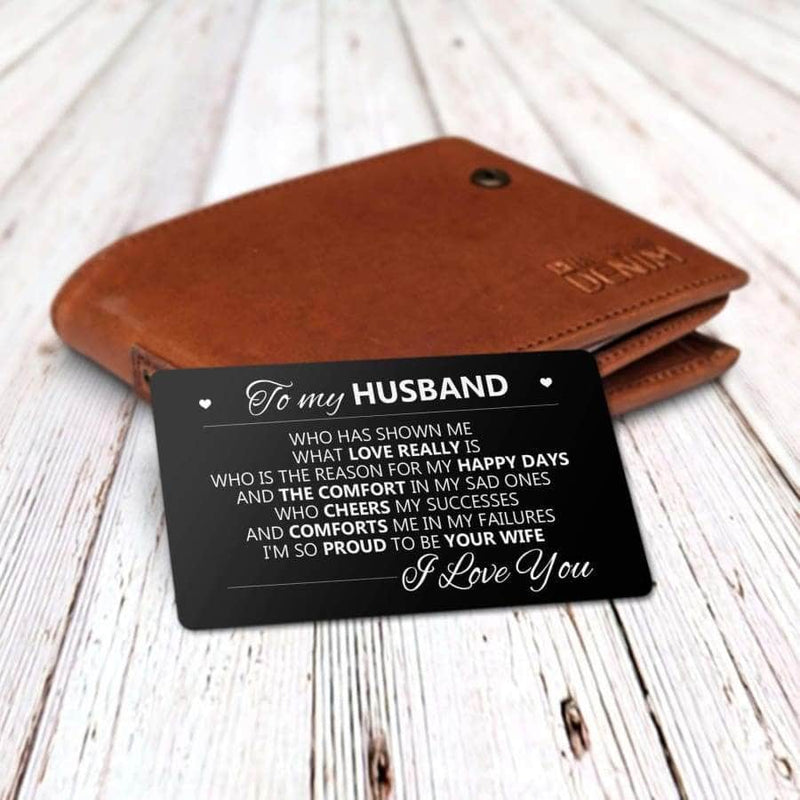 ENGRAVED BLACK WALLET INSERT CARD- MY HUSBAND - I LOVE YOU - X5419