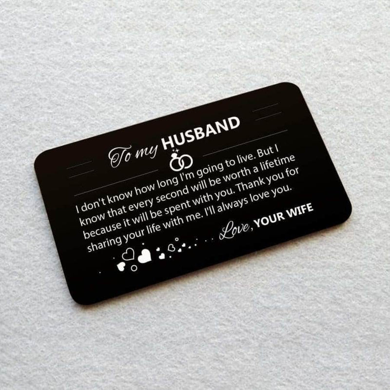 ENGRAVED BLACK WALLET INSERT CARD- MY HUSBAND - I LOVE YOU - X5422