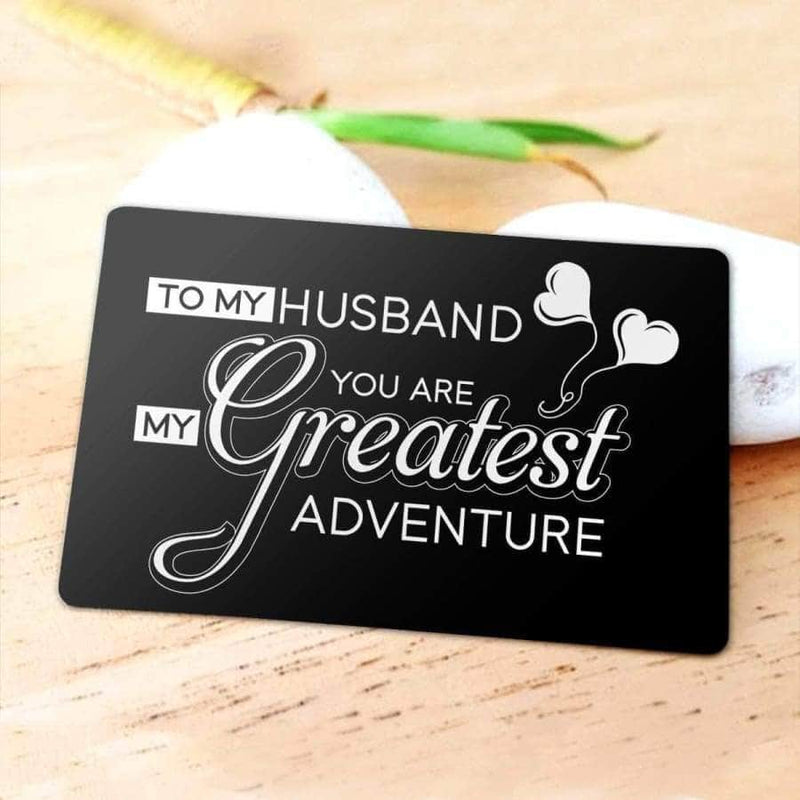 ENGRAVED BLACK WALLET INSERT CARD- MY HUSBAND - I LOVE YOU - X5423