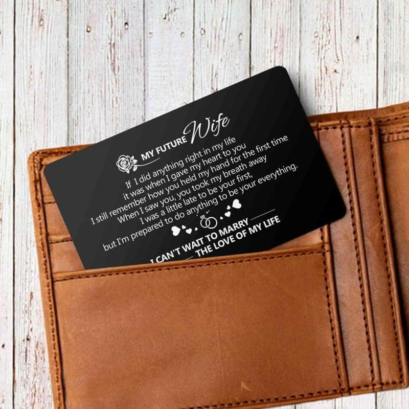 ENGRAVED BLACK WALLET INSERT CARD- MY HUSBAND - I LOVE YOU - X5433