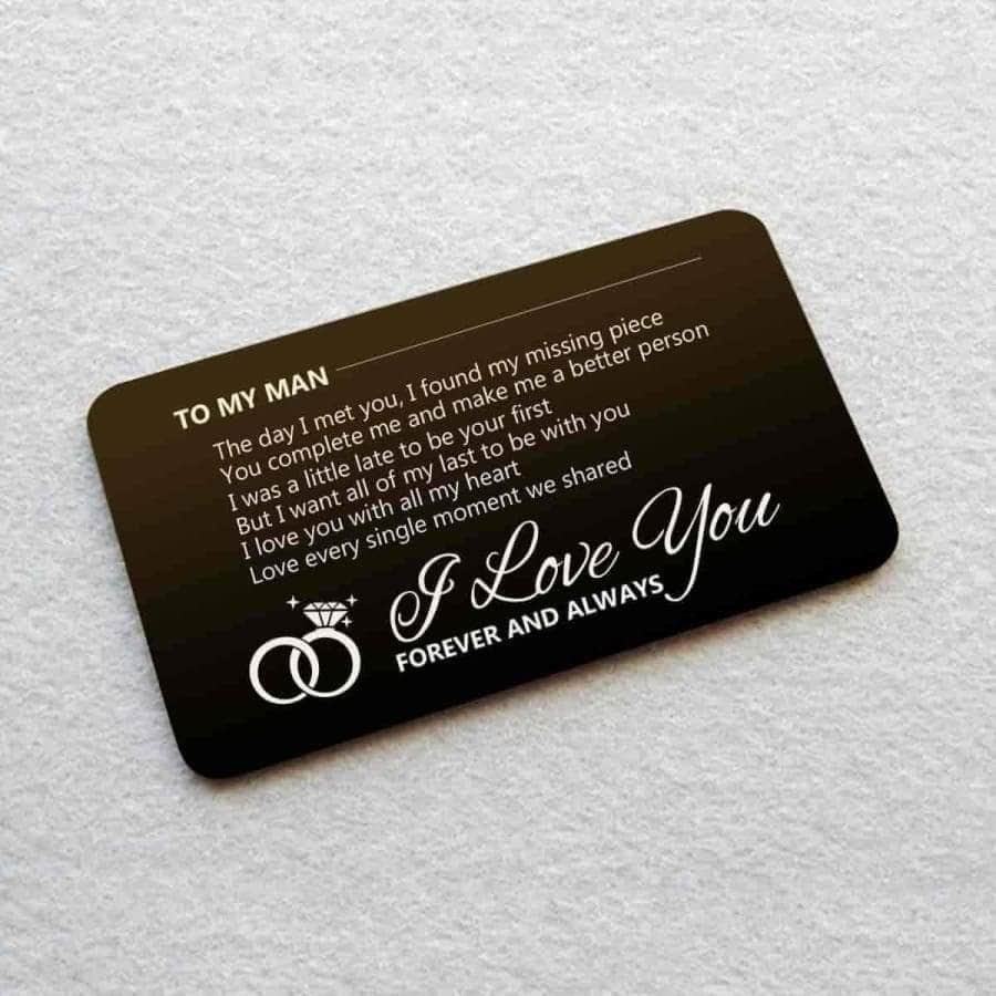 ENGRAVED BLACK WALLET INSERT CARD- MY MAN- I LOVE YOU - X5420